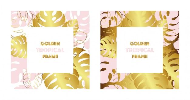 Set van twee tropische gouden lijsten. gouden en roze tropische monsterasbladeren. Premium Vector