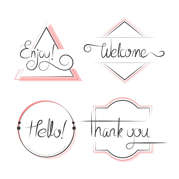 Set van typografie badges ontwerp vector Gratis Vector