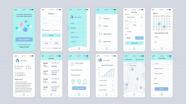 Set van ui, ux, gui schermen geneeskunde app platte sjabloon Premium Vector