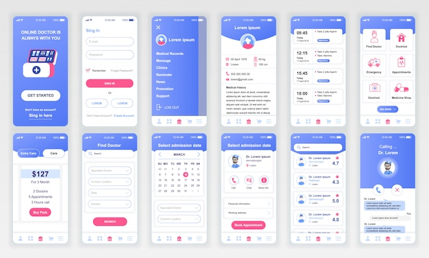 Set van ui, ux, gui-schermen medicine app flat Premium Vector