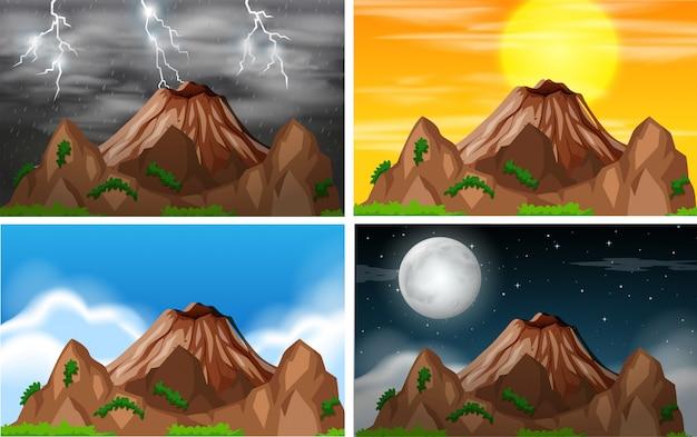 Set van uitzicht op de bergen ander klimaat Gratis Vector