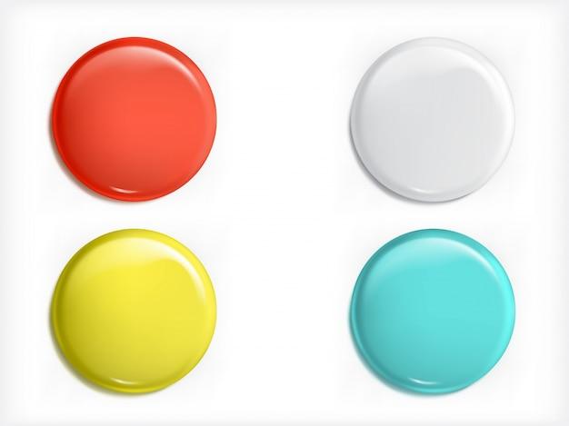 Set van vector 3d-ontwerpelementen, glanzende iconen, knoppen, badge blauw, rood, geel en wit geïsoleerd Gratis Vector