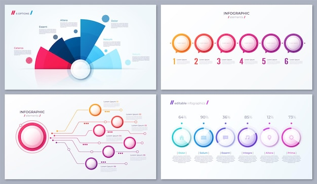 Set van vector 6 opties infographic ontwerpen, sjablonen voor rapporten, visualisaties Premium Vector