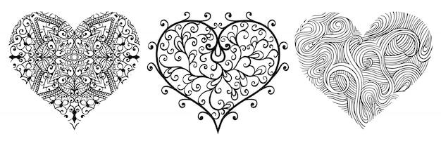 Set van vector abstracte harten. Premium Vector