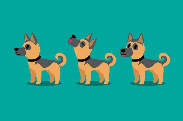 Set van vector cartoon karakter duitse herdershond vormt Premium Vector