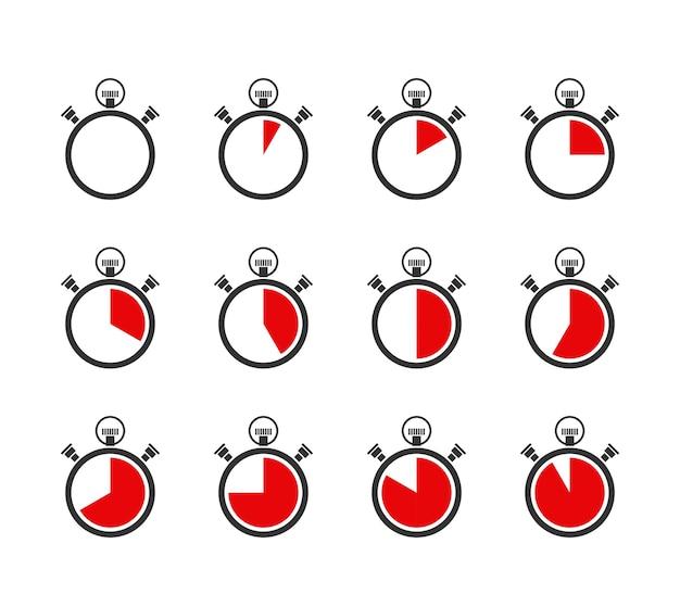 Set van vector chronometers of timers pictogrammen Gratis Vector