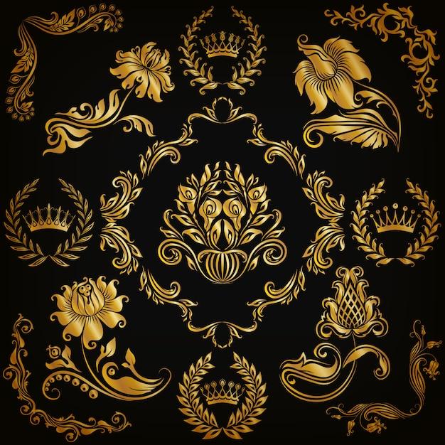 Set van vector damast ornamenten. Premium Vector