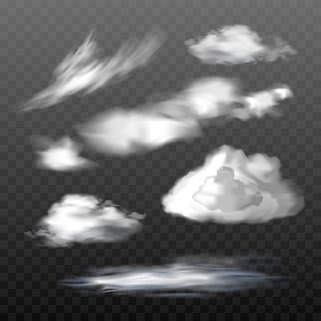 Set van vector doorschijnende wolken van verschillende types Gratis Vector