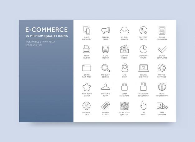 Set van vector e-commerce pictogrammen winkelen en online Premium Vector