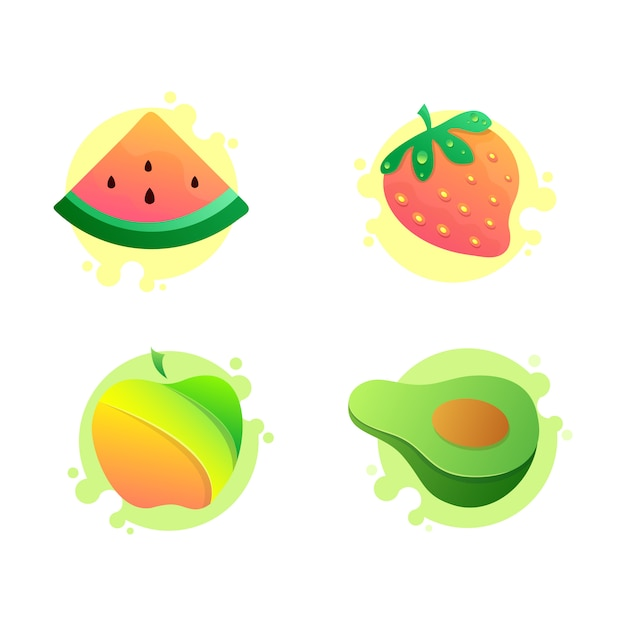 Set van vector fruit pictogrammen, watermeloen, appel, avocado, aardbei Premium Vector