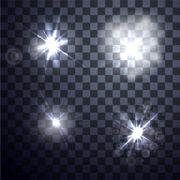 Set van vector gloeiende licht effect op transparante achtergrond Gratis Vector