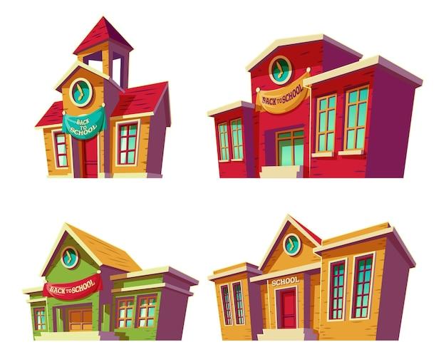 Set van vector illustraties cartoon van verschillende kleur onderwijsinstellingen, scholen. Gratis Vector