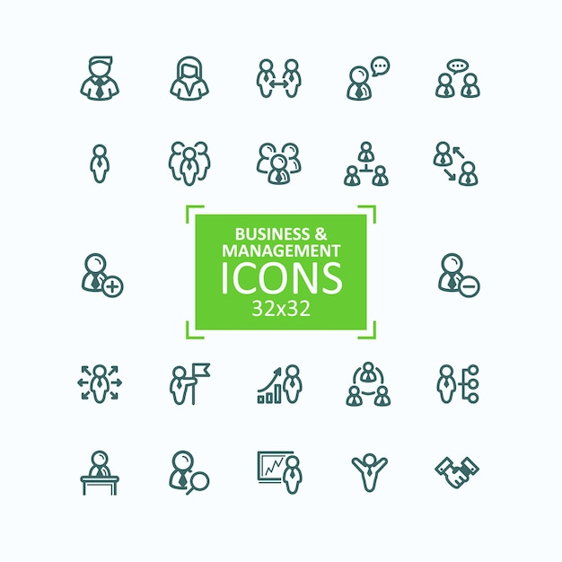 Set van vector illustraties fijne lijn iconen, verzameling van zakelijke mensen iconen, personeelsbeheer Gratis Vector
