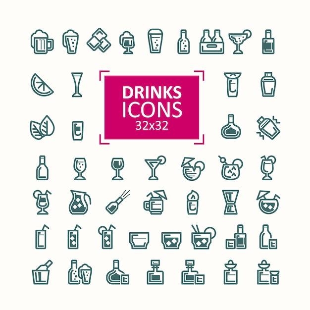 Set van vector illustraties van iconen van drankjes. Gratis Vector