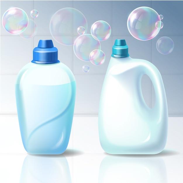 Set van vector illustraties van plastic containers voor huishoudelijke chemicaliën. Gratis Vector