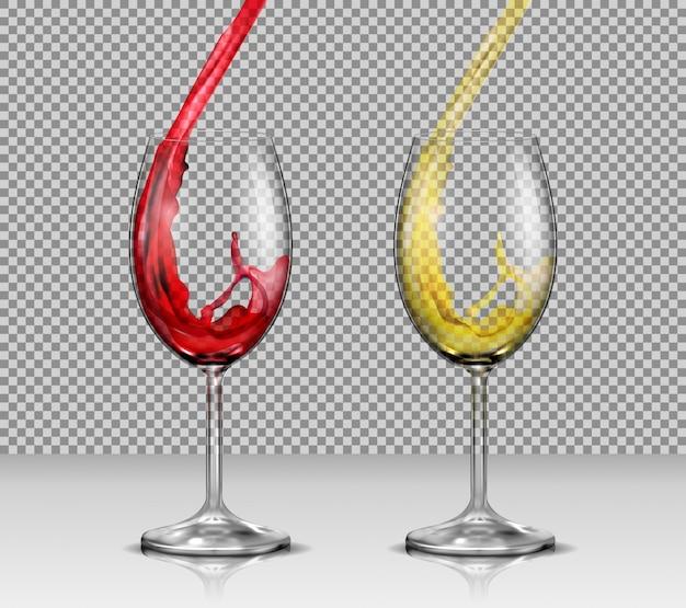 Set van vector illustraties van transparante glazen wijnglazen met witte en rode wijn gieten in hen Gratis Vector