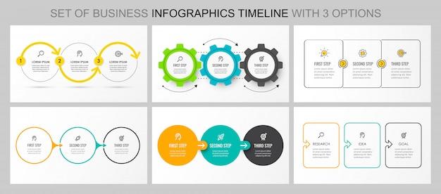 Set van vector infographic sjabloon Premium Vector