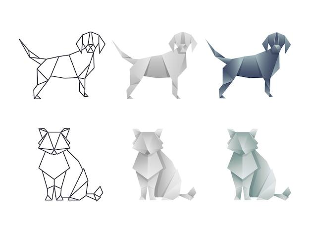 Set van vector japanse origami kat en hond Premium Vector