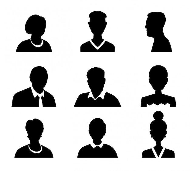 Set van vector mannen en vrouwen met zakelijke avatar profielfoto. avatars silhouet. Premium Vector