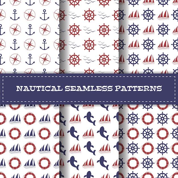 Set van vector nautische naadloze patronen Premium Vector