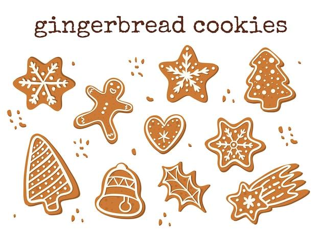 Set van vector peperkoek cookies. traditionele kersttraktatie. Premium Vector