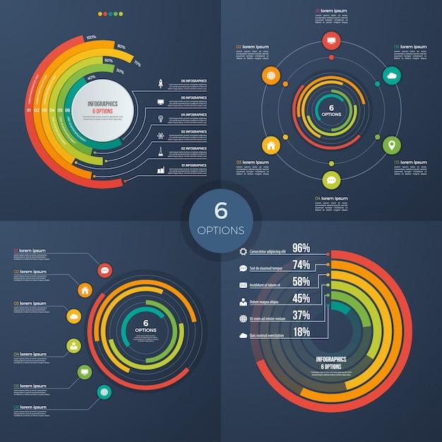 Set van vector presentatie cirkel infographic grafieken 6 opties Premium Vector