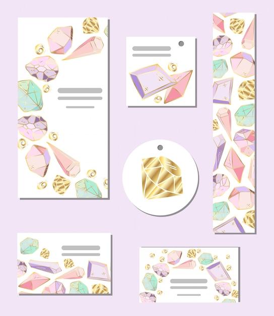 Set van vector sjablonen kaarten met kristallen en edelstenen Premium Vector