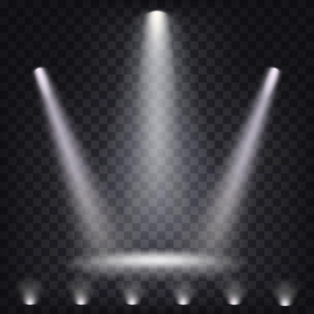 Set van vector toneel spotlights Gratis Vector