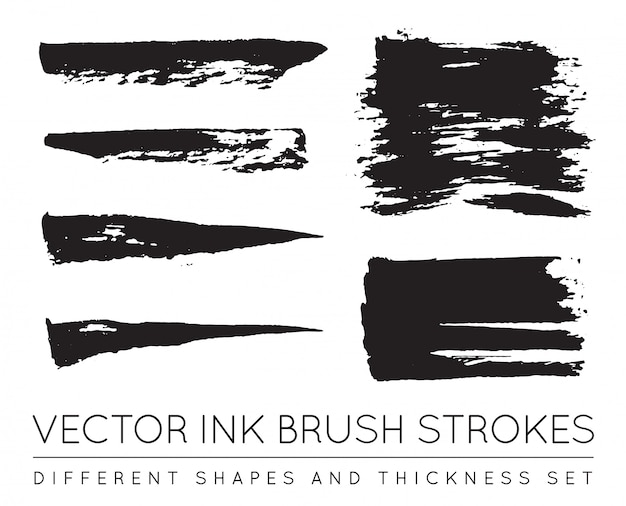 Set van vector zwarte pen inkt penseelstreken. grunge inkt penseelstreek. vuile penseelstreek. Premium Vector