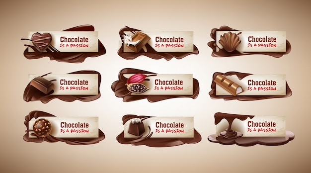 Set van vectorillustraties, banners met chocolade snoepjes, chocoladereep, cacaobonen en gesmolten chocolade Gratis Vector
