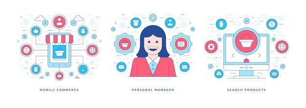 Set van vectorillustraties met pictogrammen voor online winkelen Premium Vector
