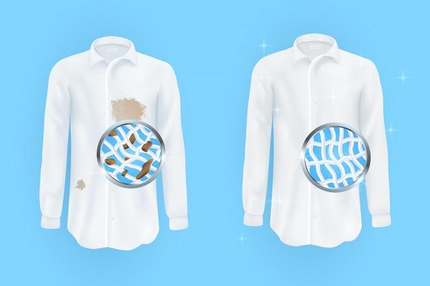 Set van vectorillustraties van een wit shirt met vuile bruine vlekken en schoon Premium Vector