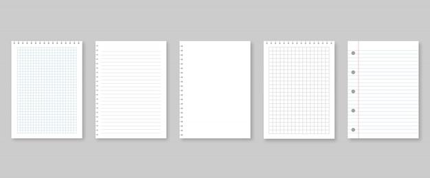 Set van vectorillustraties vellen papier. gevoerd en vierkant Premium Vector