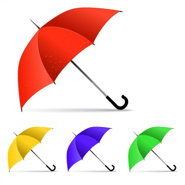 Set van veelkleurige paraplu Premium Vector