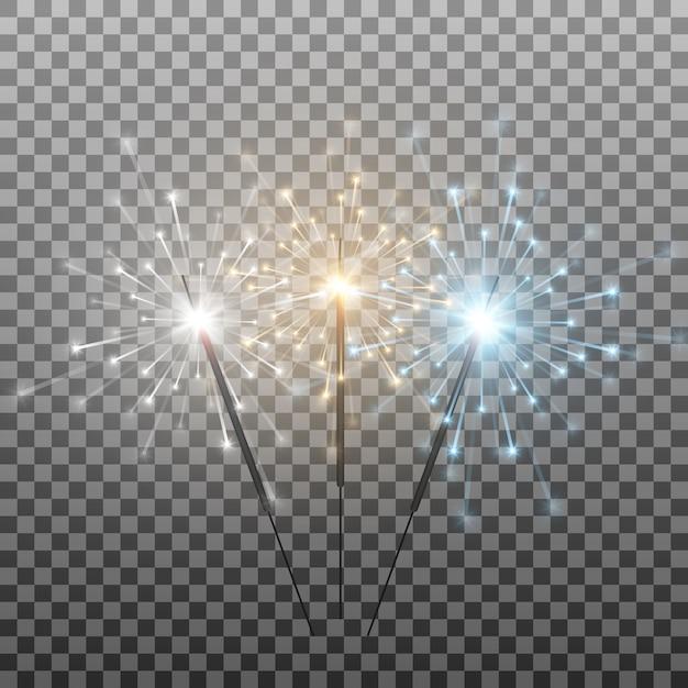 Set van veelkleurige wonderkaarsen bengaalse lichten vonken vuurwerk flits een rechtszaak brandende lichten Premium Vector