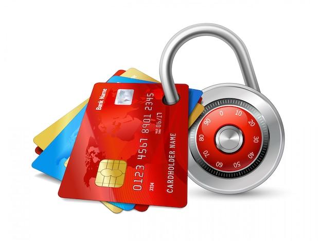 Set van veilige creditcards met fiches Gratis Vector