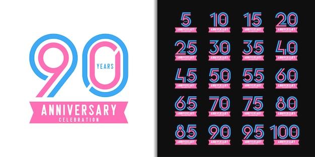 Set van verjaardag logo. kleurrijk het embleemontwerp van de verjaardagsviering. Premium Vector