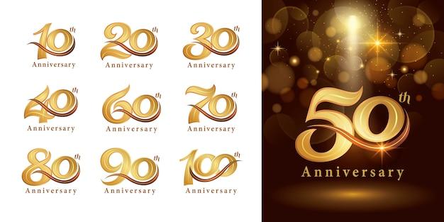 Set van verjaardag logo ontwerp, elegante klassieke logo, vintage en retro serif nummer letters Premium Vector