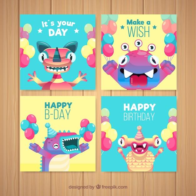 Set Van Verjaardagskaarten Met Grappige Monsters Vector