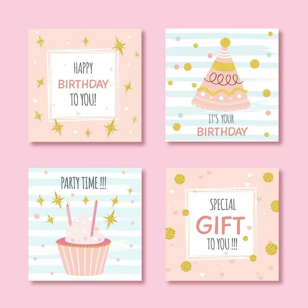 Set van verjaardagskaarten met kleurrijke partij elementen Premium Vector