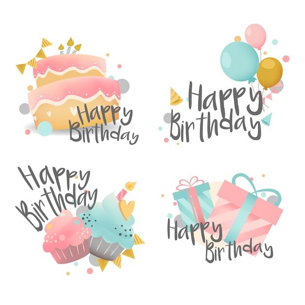 Set van verjaardagswensen ontwerp vector Gratis Vector