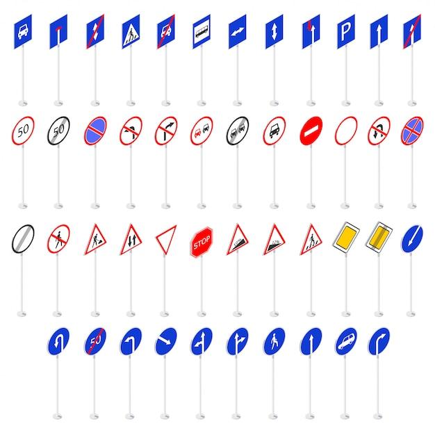 Set van verkeersborden 3d-collectie in isometrie Premium Vector
