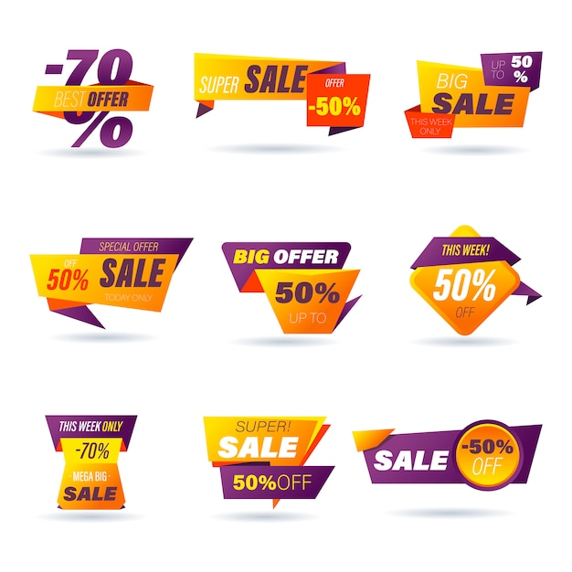Set van verkoop badge. stickers online winkelen origami-stijl voor advertenties en banners op sociale media, websitebadges, marketing, labels en stickers voor het promoten van producten. illustratie. Premium Vector