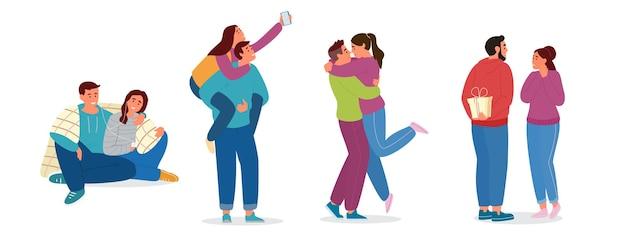 Set van verliefde koppels. knuffelen, selfie maken, cadeautjes geven, naar muziek luisteren. geïsoleerd op wit. Premium Vector