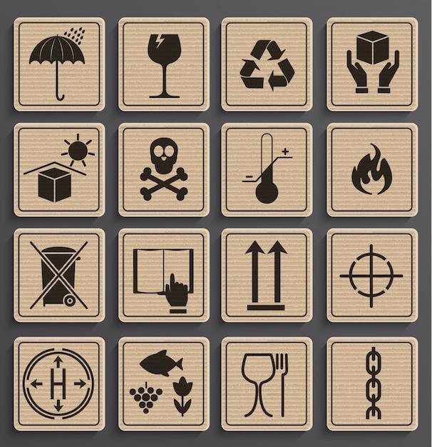 Set van verpakkings symbolen. Premium Vector