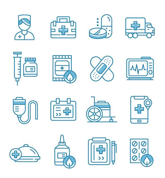 Set van verpleegster pictogrammen met kaderstijl Premium Vector