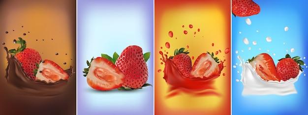Set van vers gesneden en hele, rijpe aardbeien, chocolade spatten, aardbeien in een scheutje melk of yoghurt. 3d illustratie Premium Vector