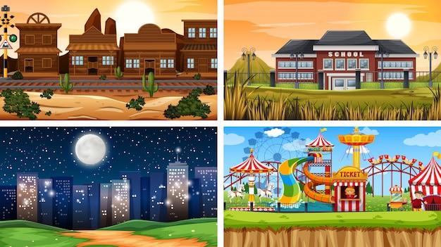Set van verschillende achtergronden Gratis Vector