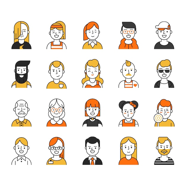 Set van verschillende avatars pictogram in mono lijnstijl Premium Vector