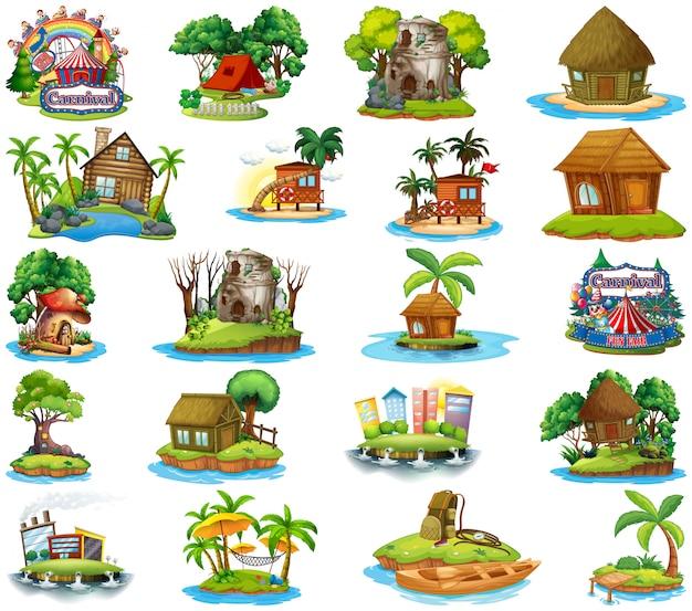 Set van verschillende bangalows en eiland strand thema en pretpark op witte achtergrond Gratis Vector